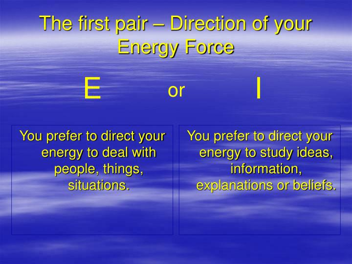 You prefer to direct your energy to deal with people, things, situations.