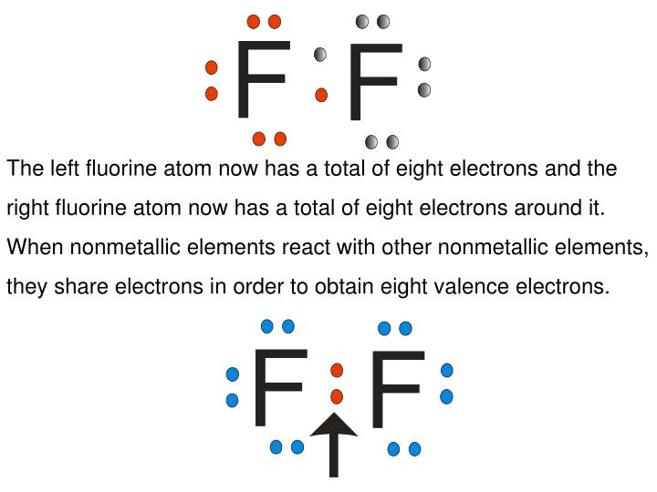 The left fluorine atom now has a total of eight electrons and the right fluorine atom now has a total of eight electrons around it.