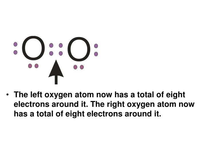 The left oxygen atom now has a total of eight electrons around it. The right oxygen atom now has a total of eight electrons around it.