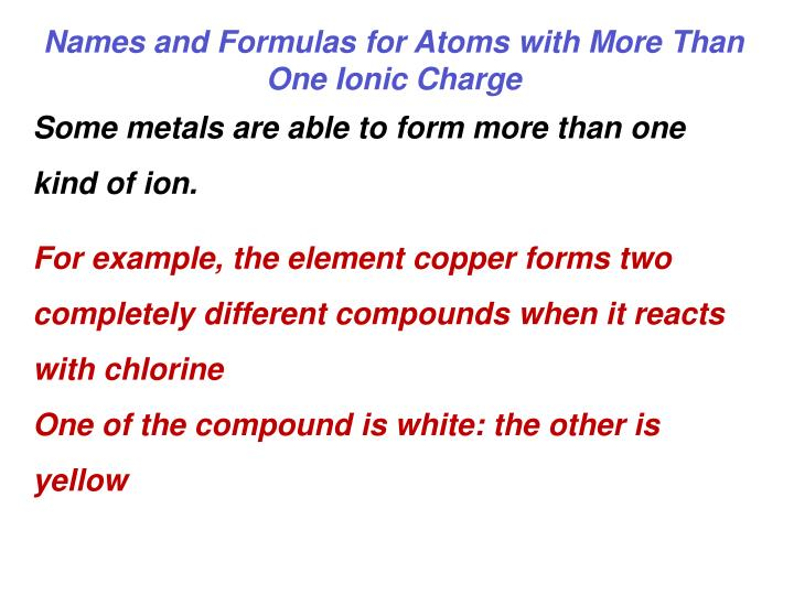 Names and Formulas for Atoms with More Than One Ionic Charge