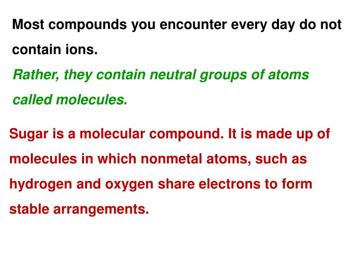 Most compounds you encounter every day do not contain ions.