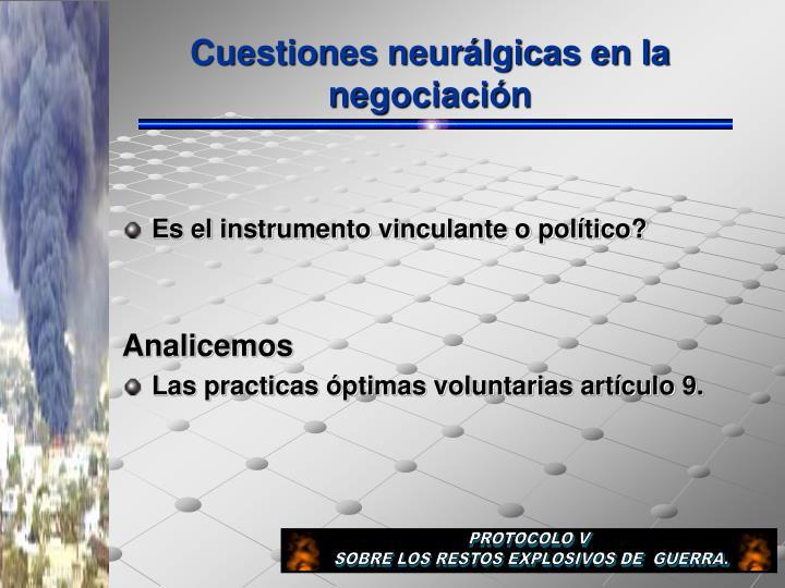 Cuestiones neurálgicas en la negociación