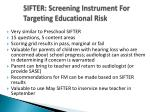 sifter screening instrument for targeting educational risk