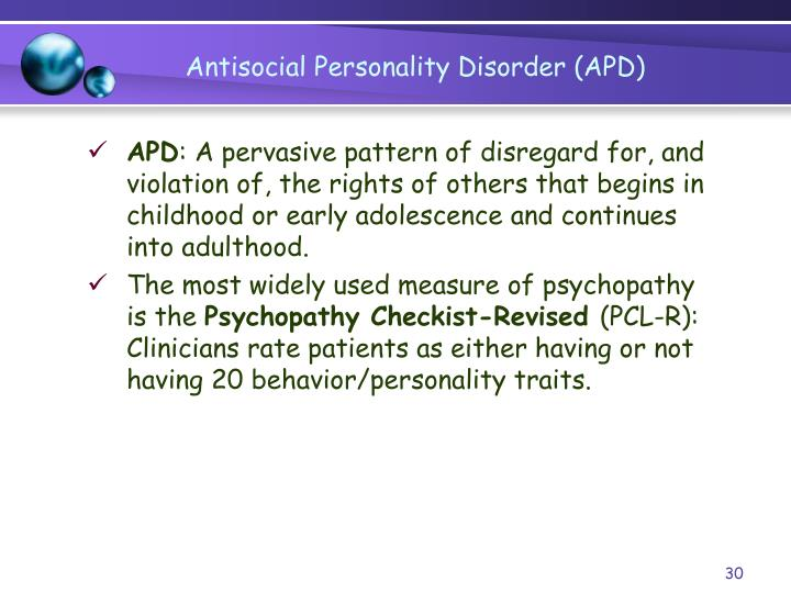 the description of the antisocial personality disorder apd Antisocial personality disorder definition, categories, type and other relevant information provided by all acronyms apd stands for antisocial personality disorder.