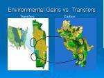 environmental gains vs transfers