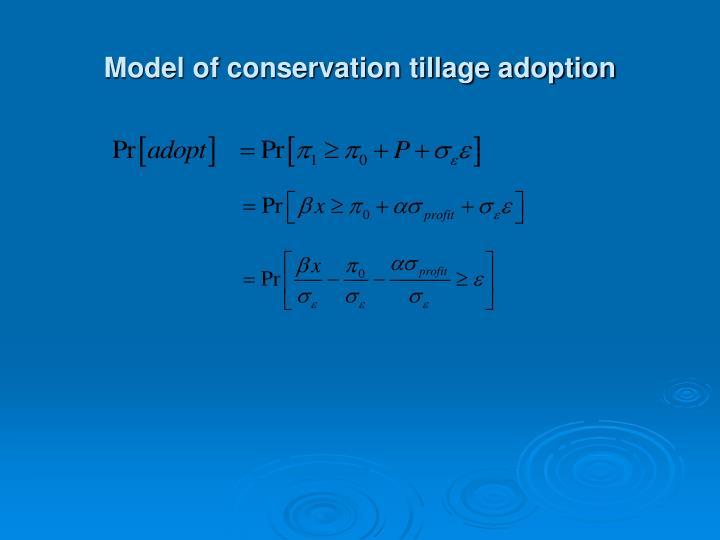 Model of conservation tillage adoption