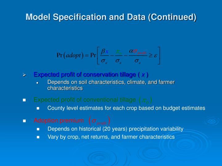 Model Specification and Data (Continued)