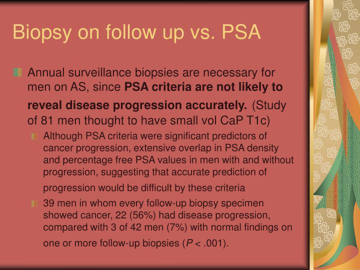 Biopsy on follow up vs. PSA