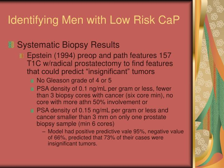 Identifying Men with Low Risk CaP