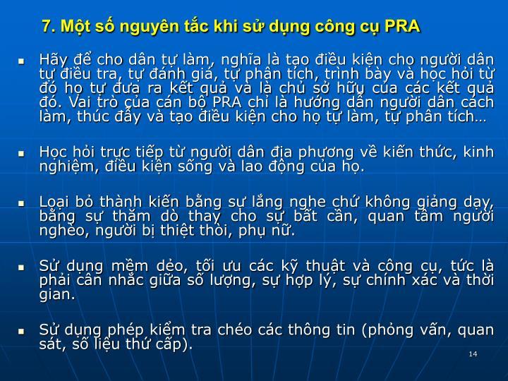 7. Một số nguyên tắc khi sử dụng công cụ PRA