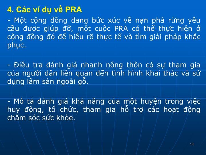 4. Các ví dụ về PRA