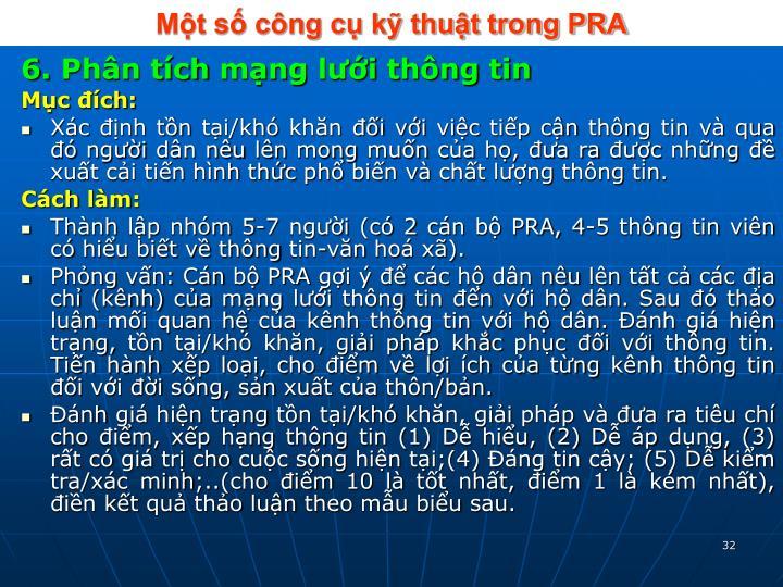 Một số công cụ kỹ thuật trong PRA