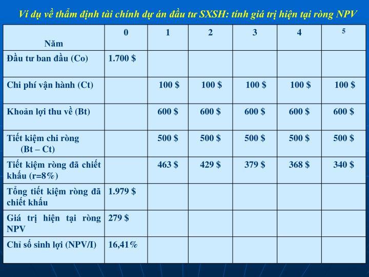 Ví dụ về thẩm định tài chính dự án đầu tư SXSH: tính giá trị hiện tại ròng NPV