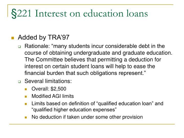 §221 Interest on education loans