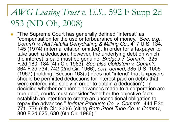 AWG Leasing Trust v. U.S.,