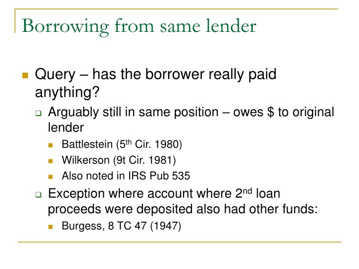 Borrowing from same lender