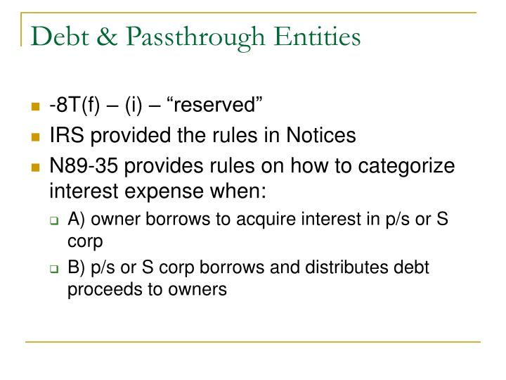 Debt & Passthrough Entities