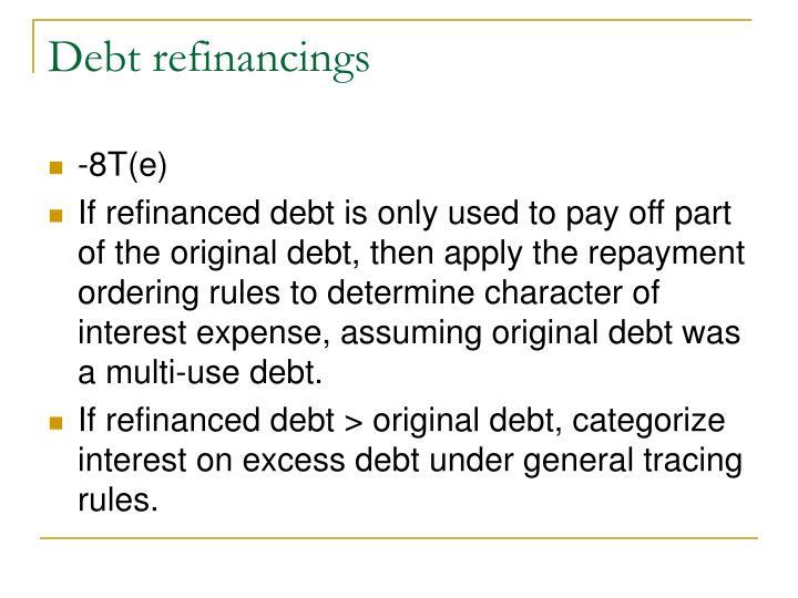 Debt refinancings