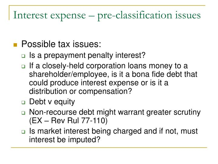 Interest expense – pre-classification issues