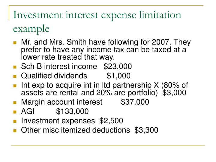 Investment interest expense limitation example