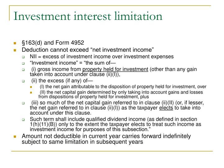 Investment interest limitation