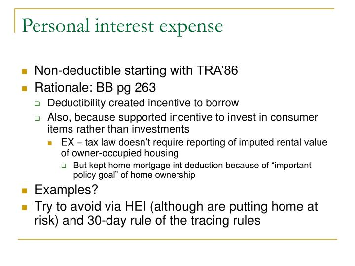 Personal interest expense
