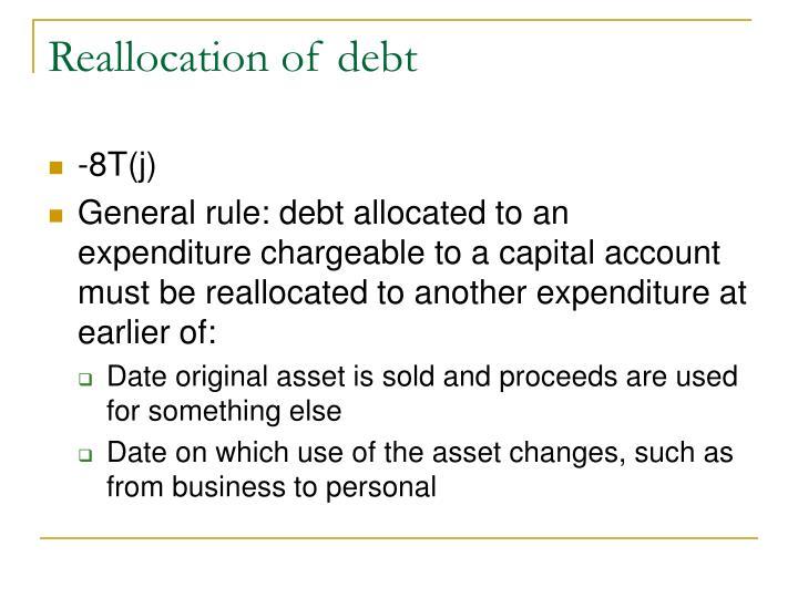 Reallocation of debt