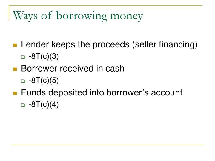 Ways of borrowing money