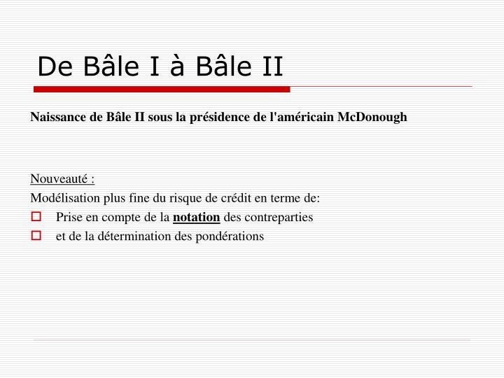 De Bâle I à Bâle II