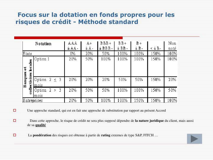 Focus sur la dotation en fonds propres pour les risques de crédit - Méthode standard