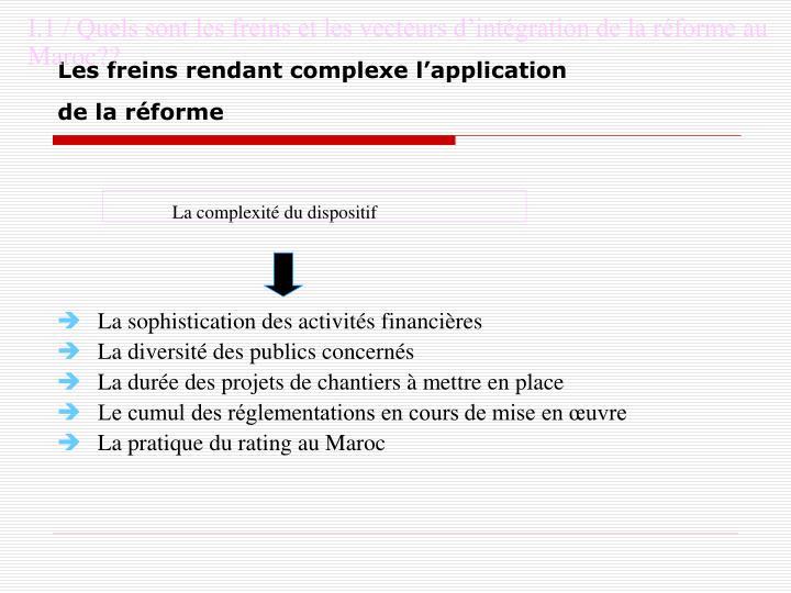 I.1 / Quels sont les freins et les vecteurs d'intégration de la réforme au Maroc??