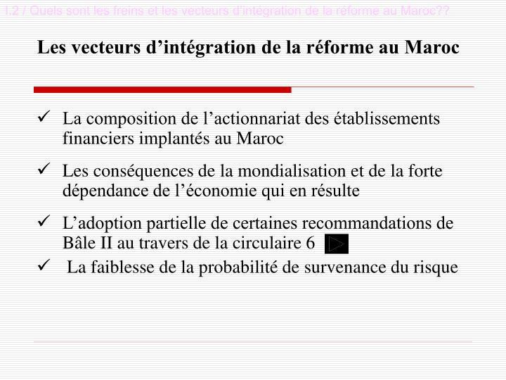 I.2 / Quels sont les freins et les vecteurs d'intégration de la réforme au Maroc??