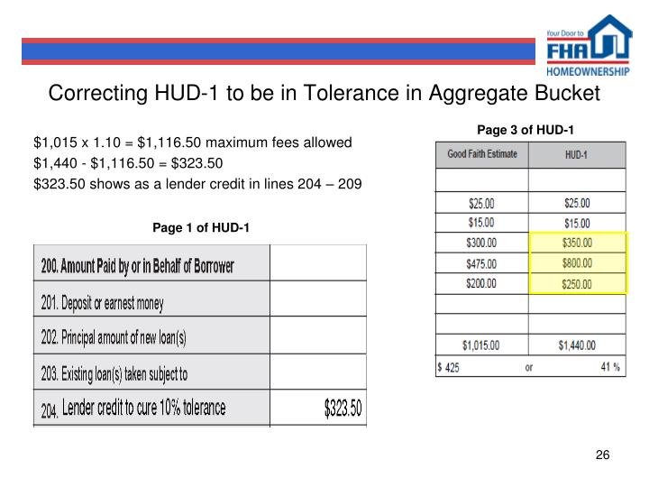 Correcting HUD-1 to be in Tolerance in Aggregate Bucket
