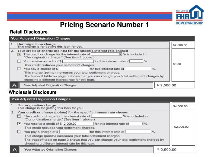 Pricing Scenario Number 1