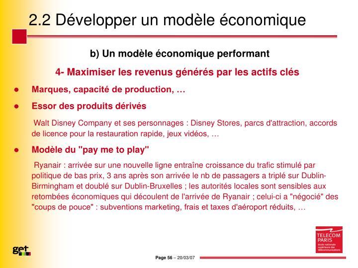 2.2 Développer un modèle économique