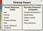 diversity factors