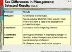 sex differences in management selected results 2 of 2