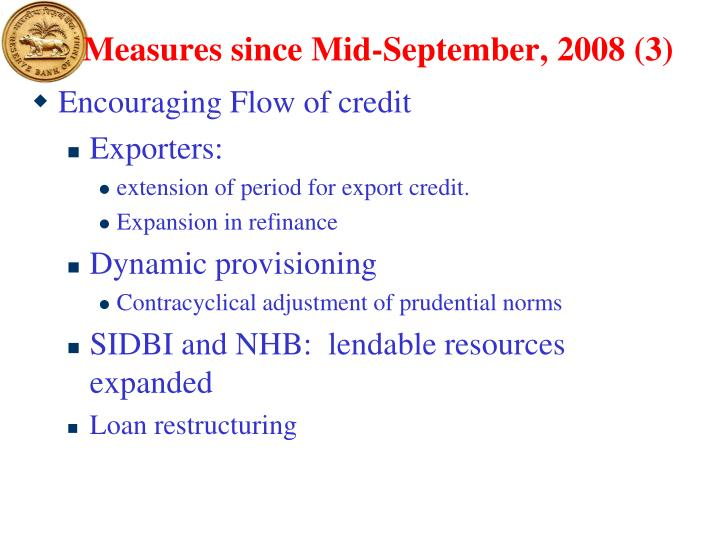 Measures since Mid-September, 2008 (3)