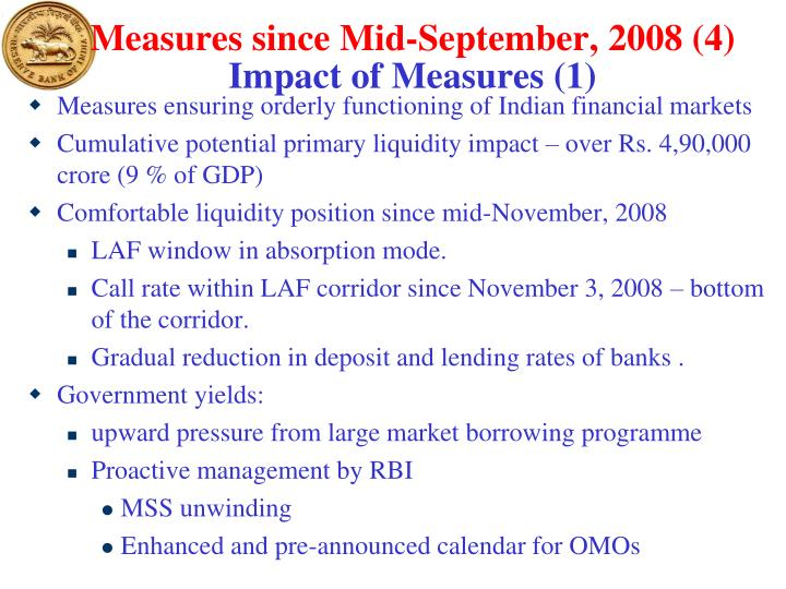 Measures since Mid-September, 2008 (4)