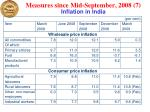 measures since mid september 2008 7 inflation in india