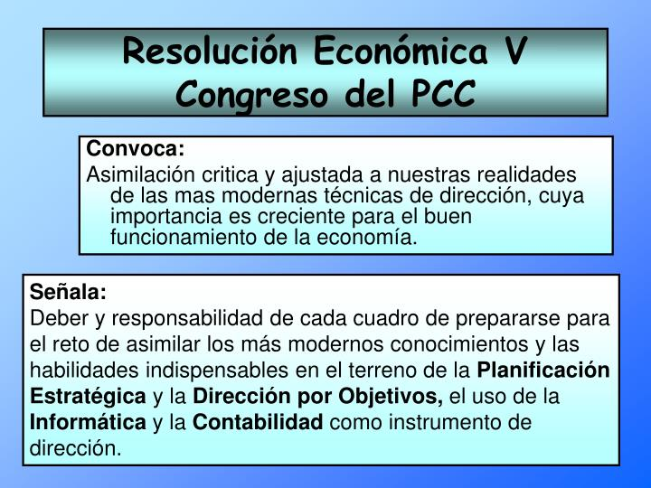 Resolución Económica V Congreso del PCC