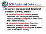 bop surplus and deficit continued