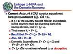 linkage to nipa and the domestic economy