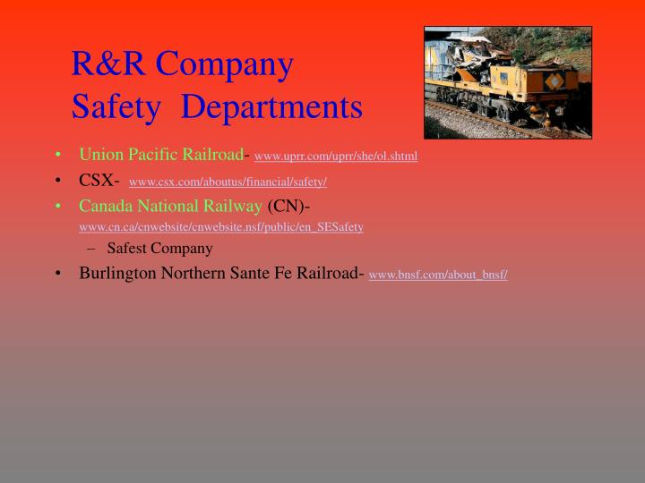 R&R Company Safety  Departments