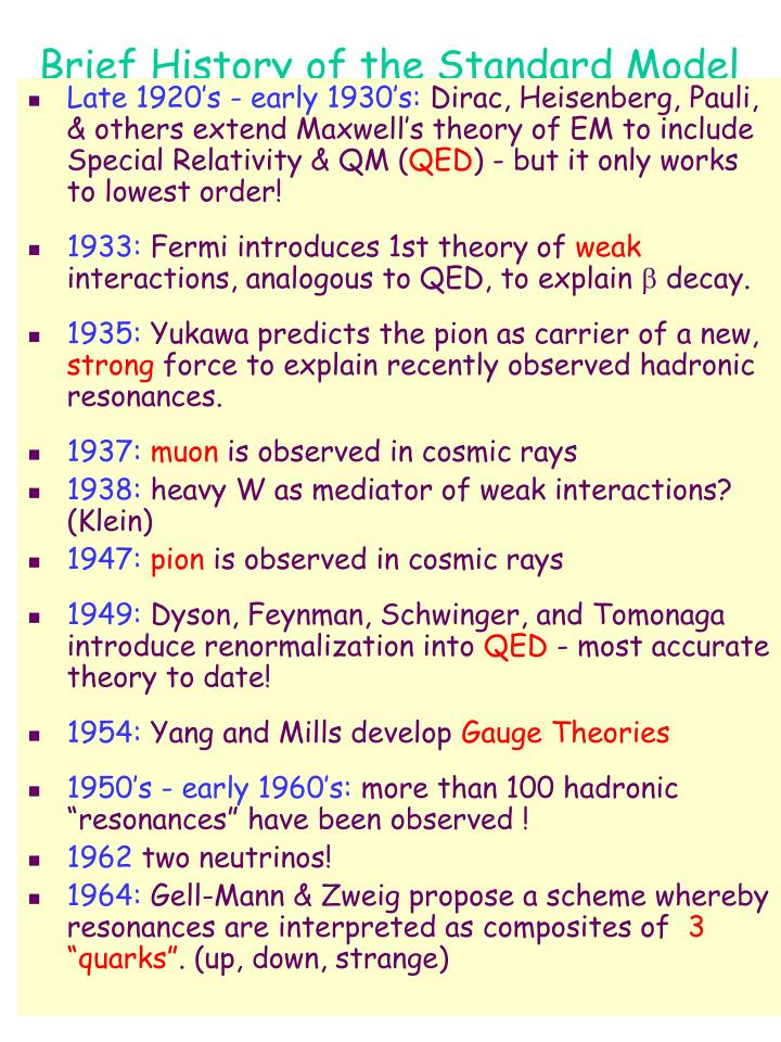 Brief History of the Standard Model