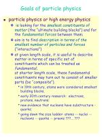 goals of particle physics
