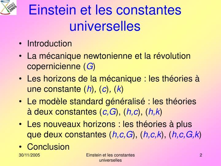 Einstein et les constantes universelles