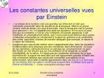 les constantes universelles vues par einstein