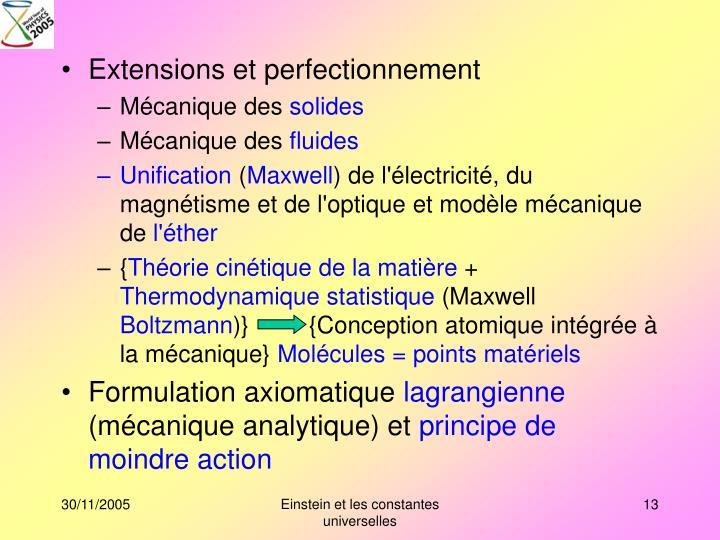 Extensions et perfectionnement