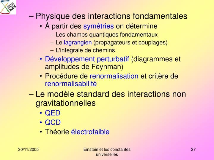 Physique des interactions fondamentales